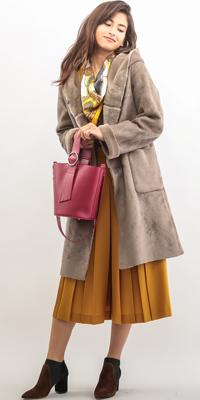 ROPÉ - ロペ   フェイクを超えたクオリティのムートンコートは、色を使って着こなして(2016/10/20)