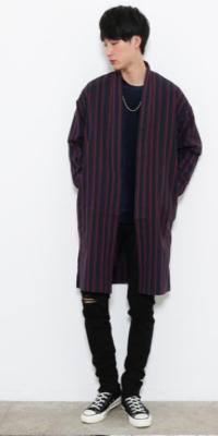 JUNRed - ジュンレッド | 【JUNRed】さらっと羽織るだけで決まるロング丈。レジメンタルストライプが新鮮なシャツコート(2017/10/10)