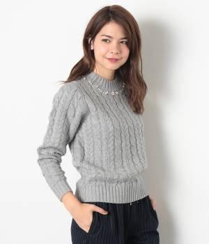 ViS - ビス   ケーブル編み襟ビジュー付プルオーバー