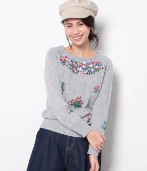 ViS - ビス   フラワー刺繍ニットプルオーバー