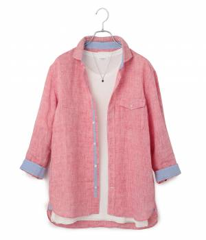 JUNRed - ジュンレッド | フレンチリネン7分袖セミワイドシャツ