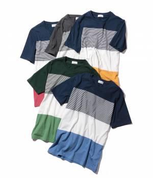 JUNRed - ジュンレッド | 4段パネルボーダークルー半袖Tシャツ