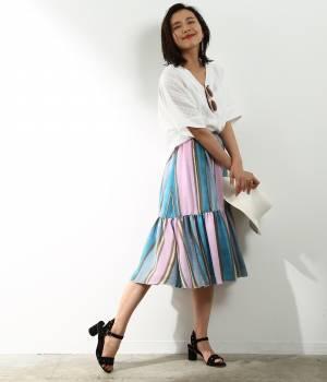 ROPÉ mademoiselle - ロペ マドモアゼル | 【先行予約】サテンギャザーサイドボタンスカート