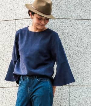 LE JUN WOMEN - ル ジュン  ウィメン   【VERY11月号掲載】スエードタッチぺプラム袖ブラウス