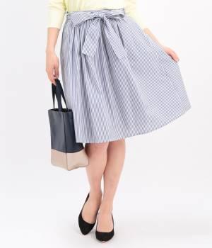 ViS - ビス   ウエストリボンストライプスカート