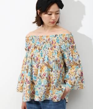 ViS - ビス | 【先行予約】綿ローン花柄プリントオフショルダーブラウス