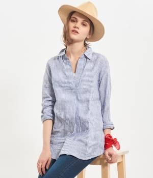 ViS - ビス | 【French Linen】スキッパーシャツチュニック
