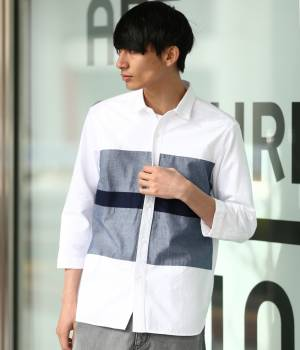 JUNRed - ジュンレッド | オックスパネル7分袖シャツ