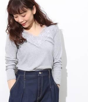 ViS - ビス | レースVネックテレコ長袖Tシャツ