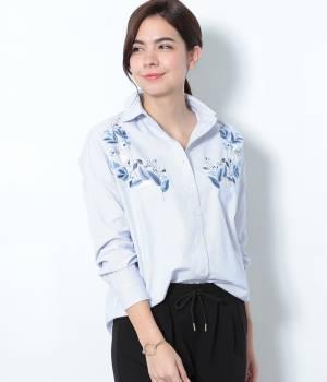 ViS - ビス | ピンストライプ刺繍入りシャツ