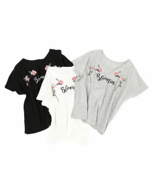 ViS - ビス   【UV加工】花刺繍Tシャツ