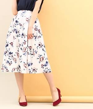 ViS - ビス | ぼかしフラワーミディ丈ギャザースカート