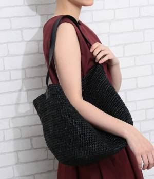 SALON adam et ropé WOMEN - サロン アダム エ ロペ ウィメン | 【先行予約】【hint hint】LEATHER SHOLDER RAFFIA BAG