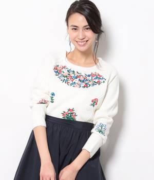 ViS - ビス | 【2017SS先行予約】フラワー刺繍ニットプルオーバー