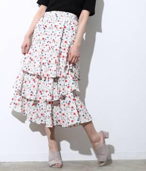 ViS - ビス | 花柄ティアードロングスカート