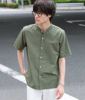 JUNRed - ジュンレッド | 綿麻バンドカラー半袖シャツ