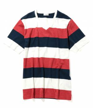 JUNRed - ジュンレッド | パネルボーダーVネックTシャツ