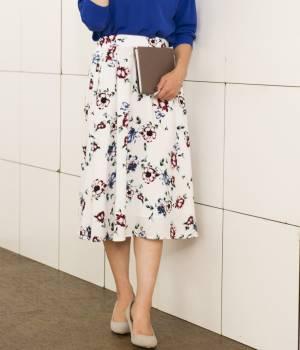 ViS - ビス | 【先行予約】【追加】ぼかしフラワーミディ丈ギャザースカート