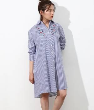 ViS - ビス   刺しゅうシャツワンピース