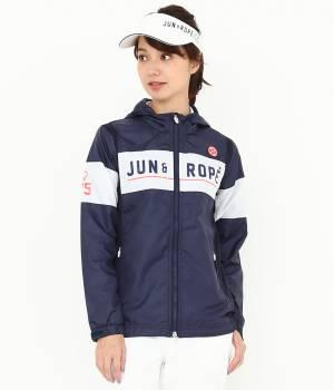 JUN&ROPÉ - ジュン アンド ロペ | 【撥水】【防風】【透湿防水】フード付切替ロゴPTブルゾン