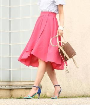 ROPÉ mademoiselle - ロペ マドモアゼル   【透け防止】アシメラップギャザースカート