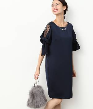 ViS - ビス   ネックレス付きサイドレースリボン袖ワンピース