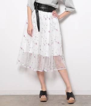 ViS - ビス | チュール刺繍ギャザースカート