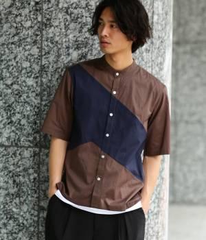 JUNRed - ジュンレッド | オータムパネルバンドカラー五分袖シャツ