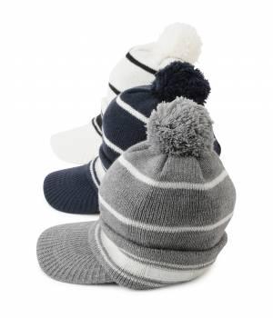 JUN&ROPÉ - ジュン アンド ロペ | つば付きライン入りニットポンポン帽