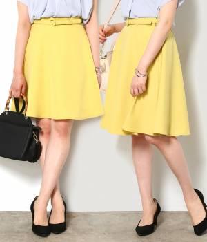 ViS - ビス   【先行予約】【WEB限定着丈が選べる】ベルト付きフレアースカート