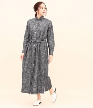 SALON adam et ropé WOMEN - サロン アダム エ ロペ ウィメン | 【宮田織物 for SALON】カスリロングシャツドレス