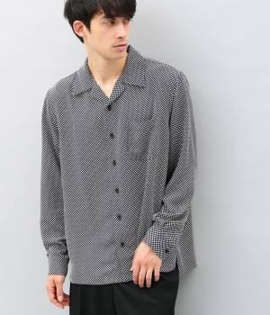 ADAM ET ROPÉ HOMME - アダム エ ロペ オム   市松&フラワープリントオープンカラーシャツ