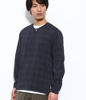 JUNRed - ジュンレッド   【予約】ソフトドレープチェックノーカラーシャツ