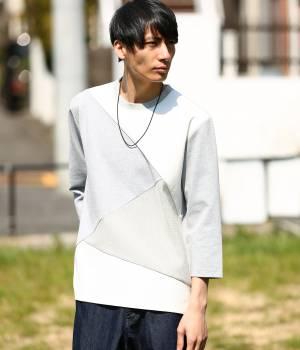 JUNRed - ジュンレッド | 異素材コンビクレイジー8分袖Tシャツ