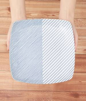 SALON adam et ropé HOME - サロン アダム エ ロペ ホーム   【白山陶器】重ね縞 反角多用皿