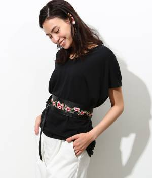 ViS - ビス   花柄刺繍サッシュベルト