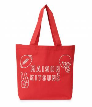 MAISON KITSUNÉ PARIS WOMEN - メゾン キツネ ウィメン | TOTE BAG FOOTBALL EMBROIDERY