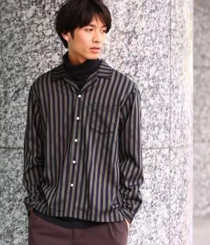 JUNRed - ジュンレッド   【TIME SALE】シャインストライプオープンカラーシャツ