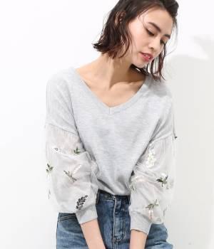 ViS - ビス | 【2WAY】花柄刺繍チュール袖プルオーバー