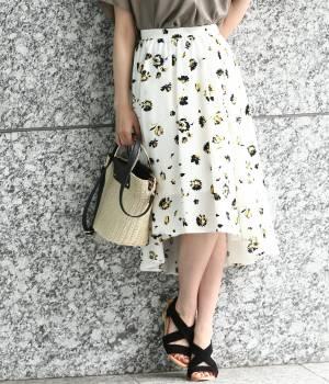 ViS - ビス   ラウンドヘム花柄スカート