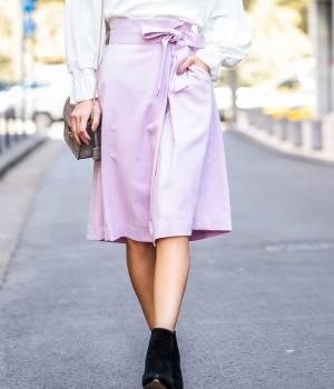 ROPÉ - ロペ | 【トールサイズ】サキソニーウエストリボンスカート