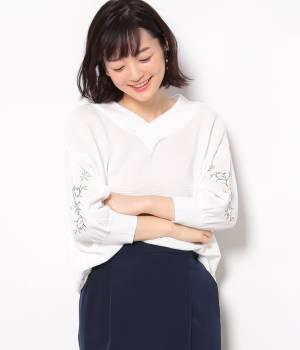 ViS - ビス | 【2WAY】袖刺繍ニットプルオーバー