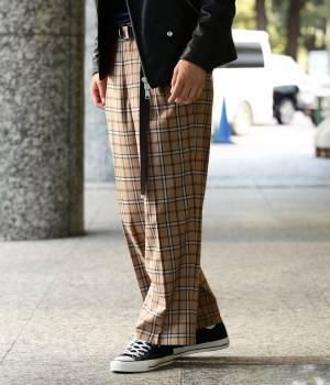 JUNRed - ジュンレッド   【FINEBOYS 1月号掲載商品】チェック柄サイドタックワイドストレートパンツ