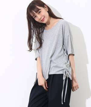 ViS - ビス   サイドレースアップTシャツ