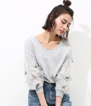 ViS - ビス | 【予約】【2WAY】花柄刺繍チュール袖プルオーバー