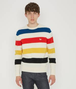 MAISON KITSUNÉ PARIS MEN - メゾン キツネ メン | LAMBSWOOL STRIPES PULLOVER