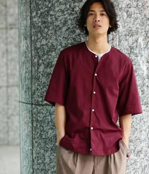 JUNRed - ジュンレッド | オータムノーカラー五分袖シャツ