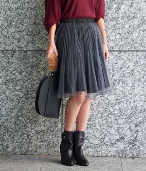 ViS - ビス | 【追加予約】【2WAY】リバーシブルチュール付起毛プリーツスカート