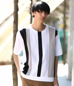 JUNRed - ジュンレッド | 【先行予約】パネルストライプ半袖Tシャツ