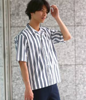 JUNRed - ジュンレッド | ストライプ半袖開襟シャツ